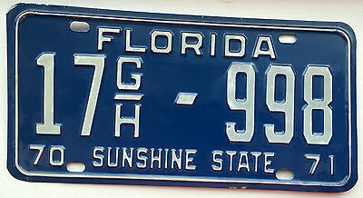 Vintage 1970-71 Florida License Plate Sunshine State Tag 17 G/H-998 Commercial
