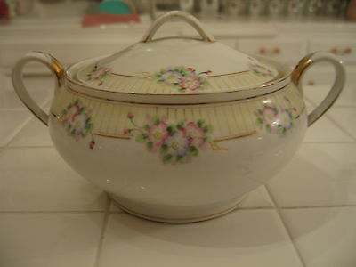 Antique Nippon Hand Painted HP Cracker Biscuit Jar Pink Blue Flowers Gold Trim