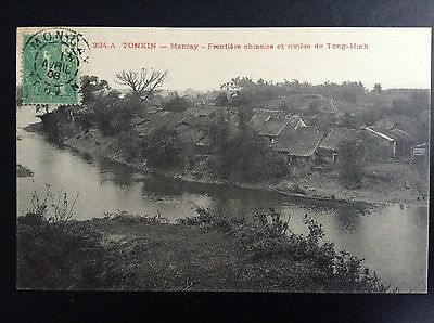 CP carte postale Indo Chine Tonkin Moncay Frontière chinoise rivière Tong Hinh