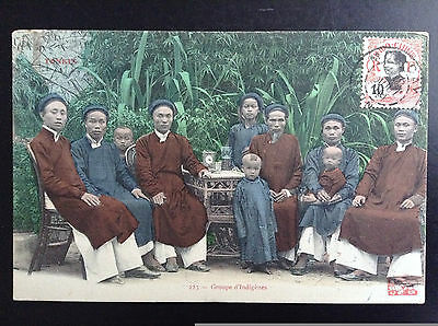 CP carte postale Indo Chine Tonkin Moncay Groupe d'Indigènes