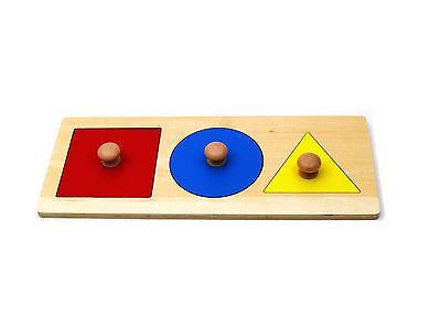 NEW Montessori Infant Toddler - Color Basic Shape Puzzle with Big Knobs
