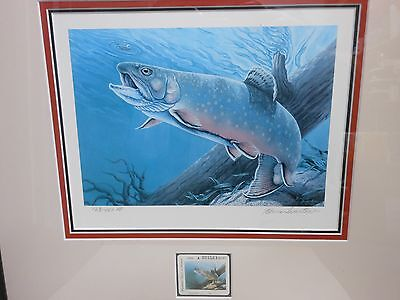 "1989 Michigan ""brook"" Trout Stamp Print ~ By First Woman Artist Elaine Swanton"