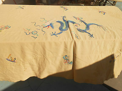 Huge 4x6' Chinese hand Embroidered Dragon on Blanket from 1930's Saratoga Vet.
