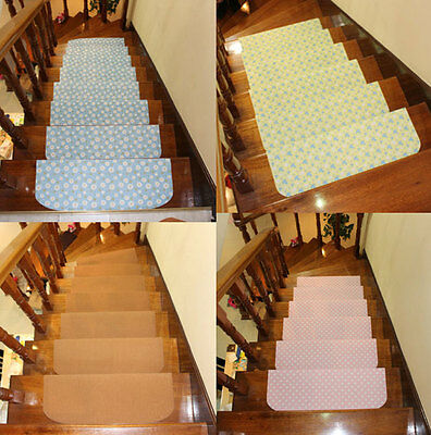 Set of 13 Anti-slip Carpet Stair Treads Indoor Steps Rugs Mats 17 Styles 5 Sizes