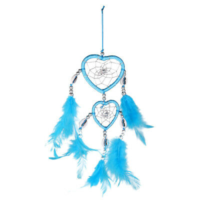 Handmade Blue Feathers Double Heart Dream Catcher Home Wall Hanging Decor