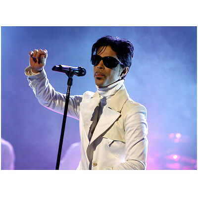 Prince Rocking Out on Stage Wearing White and Shades 11 x 14 inch photo