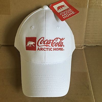 Coca Cola NEW Arctic Home Hat White Red Ball Cap Polar Bear Nascar Soft  Adjust