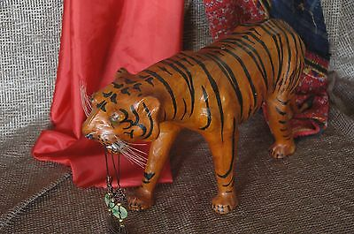 Old Hand Made Bangal Leather Tiger …beautiful accent piece