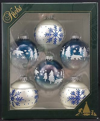 Krebs 6x Glass German Christmas Ornaments Blue + White w/ Bears + Snowflakes NEW