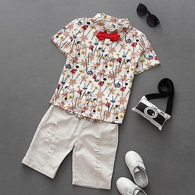 2pcs Toddler Baby Boy Kids T-Shirt Tops+Denim Pants Clothes Outfit Gentleman Set