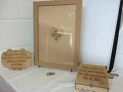 Personalised Wedding Drop Box Guest Book Complete With Hearts A3
