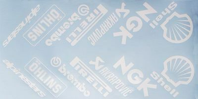 Motorcycle belly pan decals graphics stickers Sponsor x 14 angled White sponsors