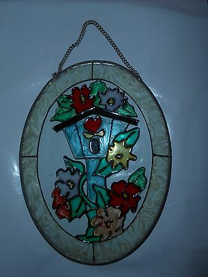 1 Vtg Stained Glass Suncatcher Oval Window Hanging Ornament Birdhouse & Flowers