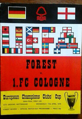 Notts Forest V Cologne 11/4/1979 European Cup Semi Final