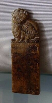 Antique Carved Soapstone Seal Carving Foo Dog