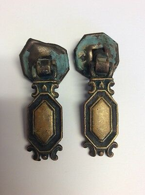 Two Vintage Architectural Salvage Antique Eastlake Victorian Drop Drawer Pulls