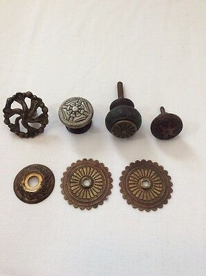 Victorian Art Deco Antique Hardware Lot Drawer Pull Salvage Brass Wood Ornate