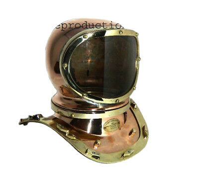 "U.S Navy 10"" Diving Divers Helmet Mark lV Solid Copper & Brass polish finish"
