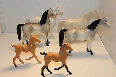 1960's Hartland Horse Set of 6 some unpainted  ranging in size from APPROX 7 1/2