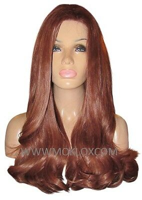 """Remy Human Hair Wig Glueless Front Lace 22"""" Very Long Wavy Auburn Red 33 Moklox"""