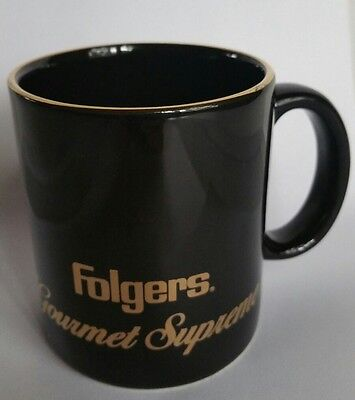 FOLGERS Gourmet Supreme Black w/ Gold Coffee Cup Mug RARE!
