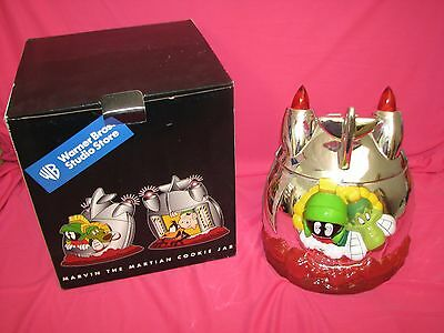 Marvin the Martian Spaceship Cookie Jar Looney Tunes Warner Bros Store & Box