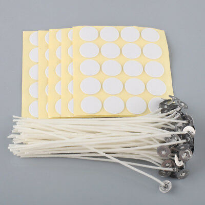 """100 x Candle Wicks 6/8"""" COTTON Core Candle Making Supplies Pretabbed + Stickers"""