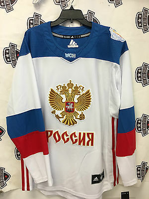 Russia LARGE 2016 World Cup Of Hockey White away jersey Adidas