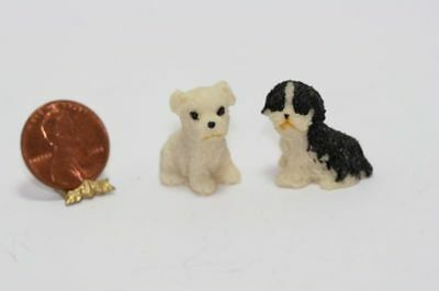 Dollhouse Miniature 1:12 Scale White & Black and White Dogs or Puppies  (Set 1)