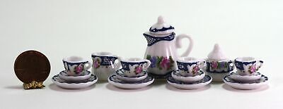 Dollhouse Miniature 1:12 White & Blue Tea Set w/Crosshatch & Floral Design