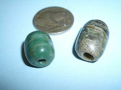 Two MAYAN  tubular Jadeite Beads Genuine 600-900 A.D.