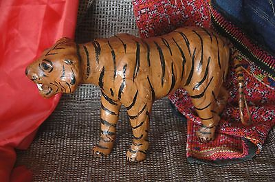 Old Hand Made Bengal Leather Tiger …beautiful accent piece