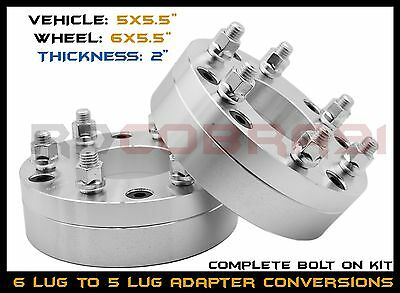 "5x5.5"" TO 6x5.5"" CONVERSION WHEEL SPACERS ADAPTERS 2"" THICK 14x1.5 THREAD PITCH"