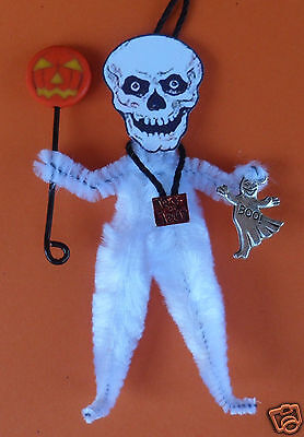SKELETON with JOL lantern and ghost chenille vintagey Halloween Tree ornament