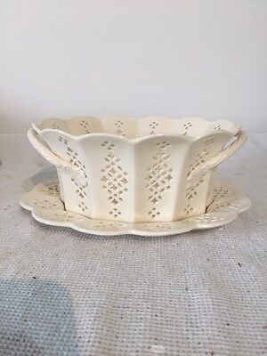 Royal Creamware Originals Dodecahedron Pierced Basket And Underplate
