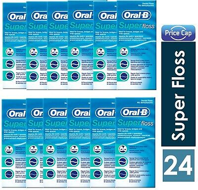 24 x Oral B Super Floss Mint 50 Pre Cut Strands, Dental Floss