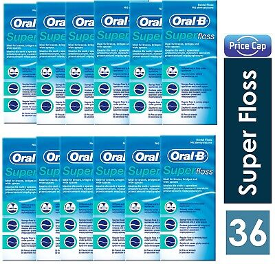 36 x Oral B Super Floss Mint 50 Pre Cut Strands, Dental Floss