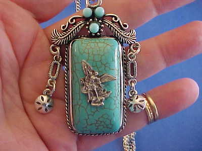 Custom Original Turquoise ARCHANGEL St MICHAEL Pendant Necklace Cowgirl Bling
