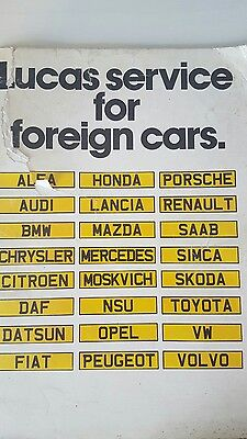 Lucas .....service For Foreign Cars Catalogue