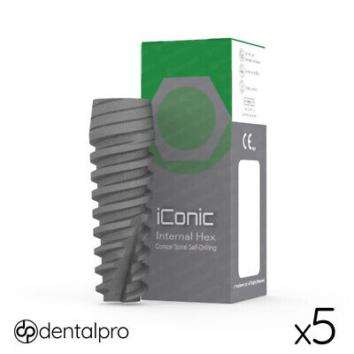 5 x iConic® Conical Dental Implant Sterile Implants Internal Hex SLA Anodized
