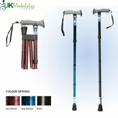 Height Adjustable Folding Walking Stick Cane with Soft Gel Grip
