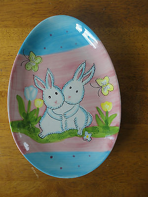 New Studio 33 Easter Ceramic Egg Shaped Plate with Bunny Rabbits