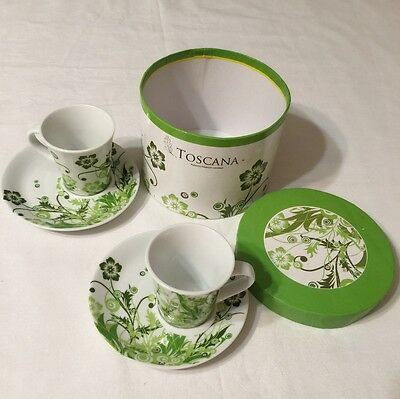 Toscana Espresso Serving Set Cup And Saucer Plate Green And White Floral Design