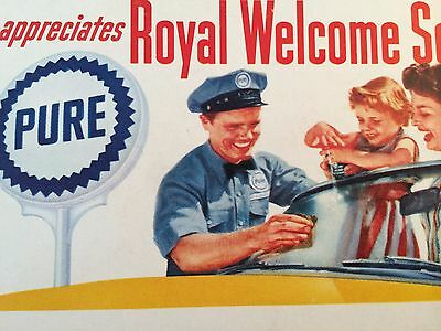 Old Original PURE OIL Attendant Advertising Ink Blotter Gas Station Premium