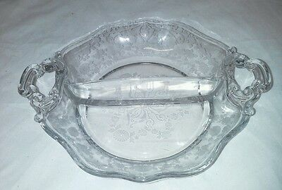 Diane Cambridge 2 Part Relish Dish Bowl Etched USA Vintage Clear Pattern 3122