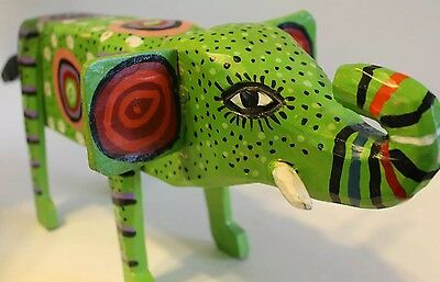 Handmade Carved Wooden Green Elephant Animal Sculpture Hand painted