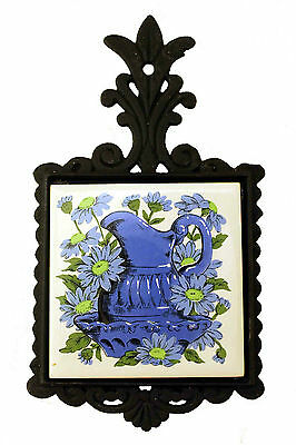 VINTAGE Cast Iron and Ceramic Tile Trivet Made in Taiwan Blue Pitcher Design