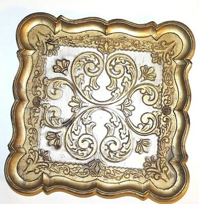 Vintage Italian Resin or Melamine Serving Tray Paisley Floral Carved