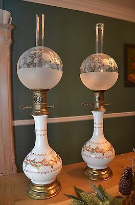 Pair of L&G French Porcelain Oil Lamps
