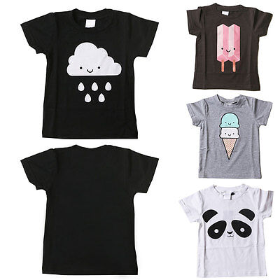 Fashion Toddler Kids Baby T-shirt Short Sleeve Infant Boy Girl Tops Blouse Tee F